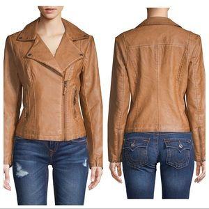 Max Studio Cognac Vegan Leather Jacket